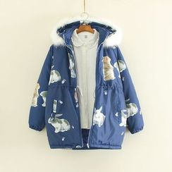 Mushi - Rabbit Print Hooded Padded Coat