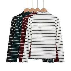 Momewear - Mock Neck Striped TOp