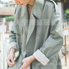 YARU - 纯色长款风衣