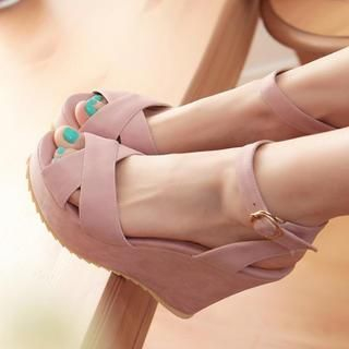 77Queen - Ankle-Strap Wedge Sandals