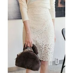 UPTOWNHOLIC - Laced Pencil Skirt