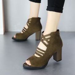 Forkix Boots - Block Heel Peep Toe Ankle Boots