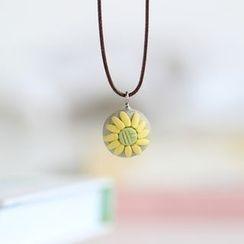 Porcelana - Floral Ceramic Pendant Necklace