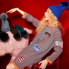 ELF SACK - Long-Sleeve Contrast-Stripe Dress