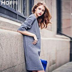 MOFFI - 3/4-Sleeve Long Knit Top