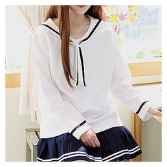 Sechuna - Sailor-Collar Contrast-Trim Top