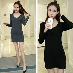 CHIH - Zip Front Long Sleeve Mini Dress