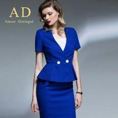 Aision - Set: Short-Sleeve Jacket + Pencil Skirt
