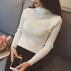 Yohana - Ribbed Mock-neck Knit Top