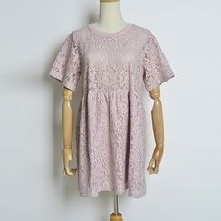 AIGIL - Lace Short-Sleeve Dress