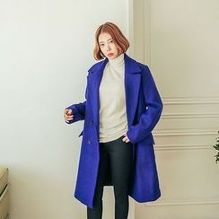 Seoul Fashion - Double-Breasted Wool Blend Long Coat