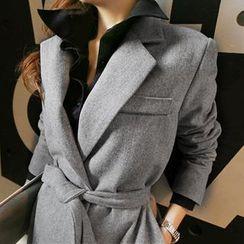 NANING9 - Wool Blend Tied-Waist Coat