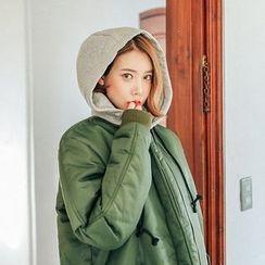 Seoul Fashion - Hooded Fleece-Lined Long Flight Jacket