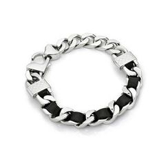 Kenny & co. - Black Leather Screw Bracelet (S)