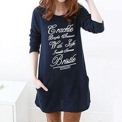 Rocho - Long-Sleeve Lettering T-shirt Dress