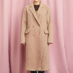 chuu - Notched-Lapel Buttoned Faux-Shearling Long Coat