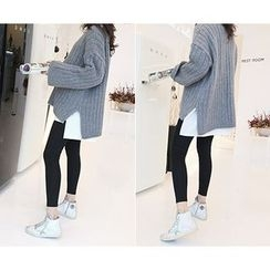 MARSHMALLOW - Drop-Shoulder Ribbed Knit Sweater