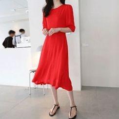Hello sweety - Elbow-Sleeve A-Line Dress