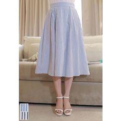 MyFiona - Striped A-Line Midi Skirt