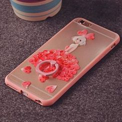 Kindtoy - Floral Print Silicone Case with Mobile Ring - iPhone 6S / 6S Plus