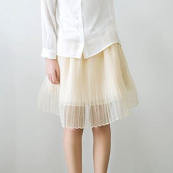 11.STREET - Accordion Mesh Panel Skirt