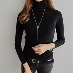 PEPER - Turtle-Neck Plain T-Shirt