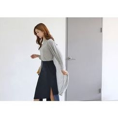 Hello sweety - Set: V-Neck Long Cardigan + Elbow-Sleeve T-Shirt