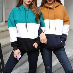 Racoon - Long-Sleeve Color-Block Hooded Top