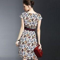 la nuit - Printed Short-Sleeve Silk Dress