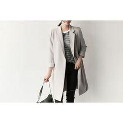 UPTOWNHOLIC - Single-Breasted Long Jacket