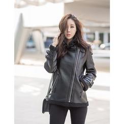 GUMZZI - Faux-Leather Fleeced-Line Jacket