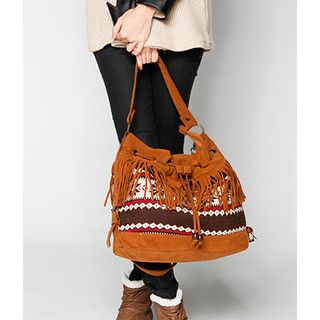 59 Seconds - Nordic Print Bucket Bag with Fringe