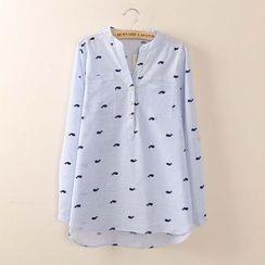 Tangi - 鲸鱼印花立领细条纹衬衫