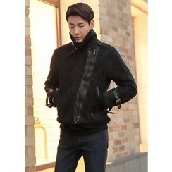 GERIO - High-Neck Faux-Shealring Jacket