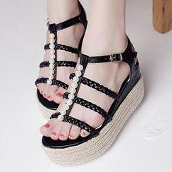 Mancienne - Beaded Woven Platform Sandals