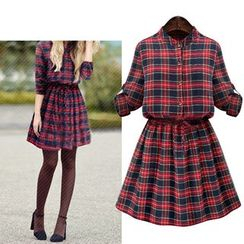 Cherry Dress - Plaid Elbow-Sleeve A-Line Shirt Dress