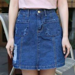 Isadora - Distressed A-Line Denim Skirt