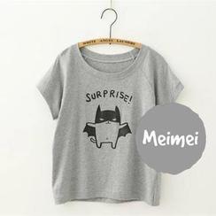 Meimei - 短袖龜裂感印花 T 恤