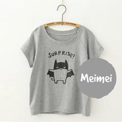 Meimei - Short-Sleeve Cracking Textured Cartoon Print T-Shirt