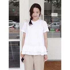 maybe-baby - Frilled-Hem Cotton Top