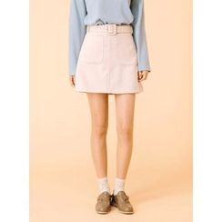 icecream12 - A-Line Mini Skirt with Belt
