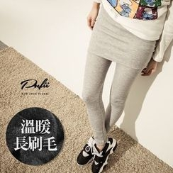 PUFII - Inset Skirt Fleece-Lined  Leggings