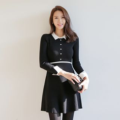 WITH IPUN - Point-Collar Knit Dress