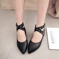 幸福鞋坊 - 交叉帶平跟鞋