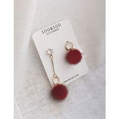 soo n soo - Rhinestone Pompom Dangle Earrings