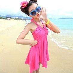 Rachel Swimwear - 掛脖純色裙式泳衣