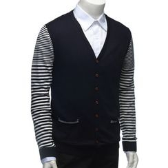YesStyle M - Stripe Panel Cardigan