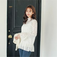 Styleberry - Frill-Trim Sheer Lace Top
