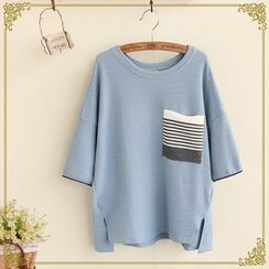 Fairyland - Boxy Textured Sweater with Striped Pocket