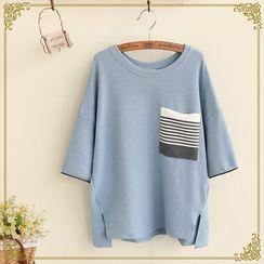 布衣天使 - 條紋口袋圓領T恤